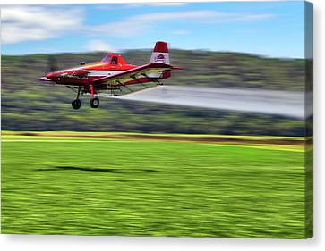 Canvas Print featuring the photograph Picking It Up And Putting It Down - Crop Duster - Arkansas Razorbacks by Jason Politte