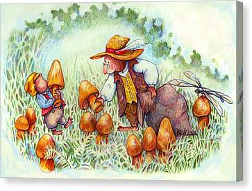 Picking Mushrooms Canvas Print by Peggy Wilson