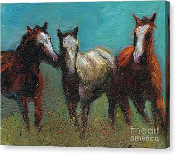 Picking On The New Guy Canvas Print by Frances Marino