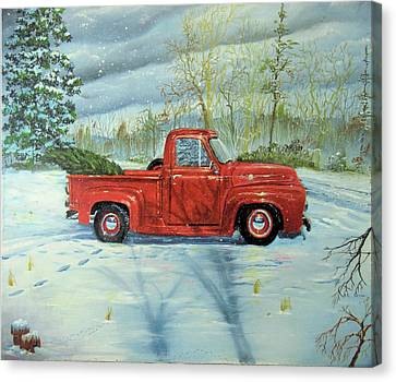 Picking Up The Christmas Tree Canvas Print