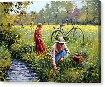 Picking Flowers Canvas Print - Picking Yellow Flowers by Roelof Rossouw