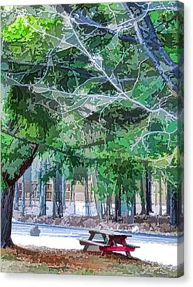 Public Holiday Canvas Print - Picnic Area With Wooden Tables 2 by Lanjee Chee