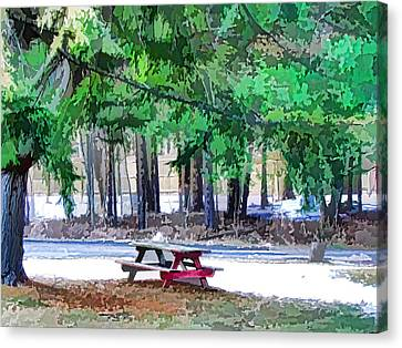 Public Holiday Canvas Print - Picnic Area With Wooden Tables 3 by Lanjee Chee