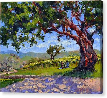 Picnic In The Vineyard Canvas Print by Lynee Sapere