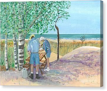 Picnic On Lake Huron - Painting Canvas Print by Veronica Rickard