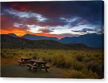 Picnic Tables At Sunset Canvas Print