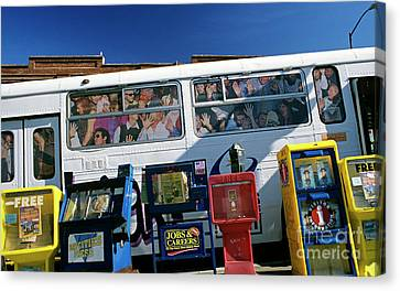 Bus In San Francisco Canvas Print - Picture Ad Of Over Crowded Bus  by Jim Corwin