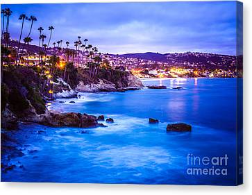 Picture Of Laguna Beach California City At Night Canvas Print by Paul Velgos