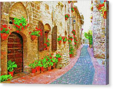 Picturesque Lane With Flowers In An Italian Hill Town Canvas Print by Andrew Sokol