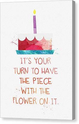 Piece Of Cake- Card Canvas Print by Linda Woods