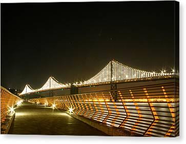 Pier 14 And Bay Bridge Lights Canvas Print