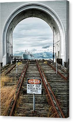 Alcatraz Canvas Print - Pier 43 Ferry Arch San Francisco California by Mary Lee Dereske