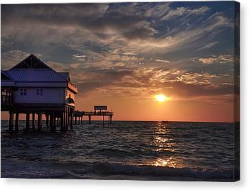 Pier 60 Clearwater Florida At Sunset Canvas Print by Bill Cannon