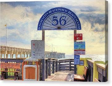Panama City Beach Canvas Print - Pier Access 56 Panama City Beach by JC Findley