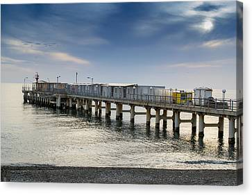 Canvas Print featuring the photograph Pier At Sunset by John Williams