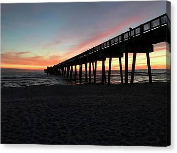 Panama City Beach Canvas Print - Pier At Sunset by Leslie Brashear