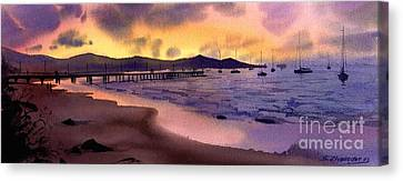 Canvas Print featuring the painting Pier At Sunset by Sergey Zhiboedov