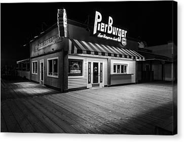 Pier Burger Santa Monica Pier Black And White Canvas Print