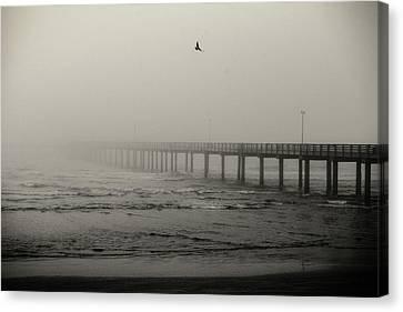 Pier In Fog Canvas Print