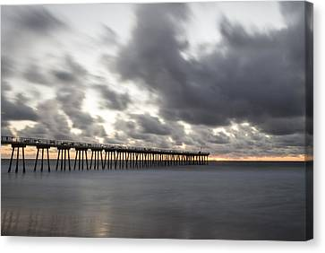 Pier In Misty Waters Canvas Print by Ed Clark