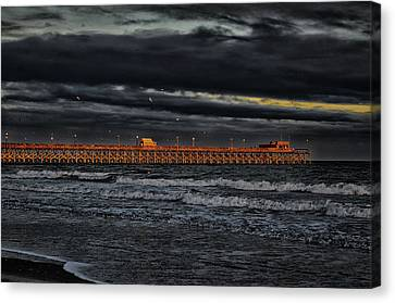 Canvas Print featuring the photograph Pier Into Darkness by Kelly Reber