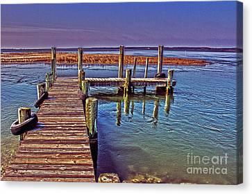 Pier Near Wallops Island Canvas Print by Tom Gari Gallery-Three-Photography