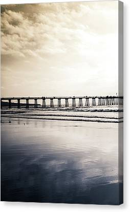 Canvas Print featuring the photograph Pier On Duotone by Michael Hope