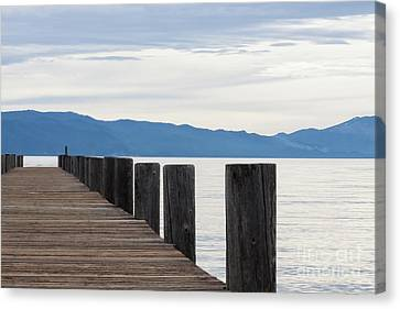 Canvas Print featuring the photograph Pier On The Lake by Ana V Ramirez