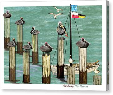 Canvas Print featuring the painting Pier Pressure by Anne Beverley-Stamps