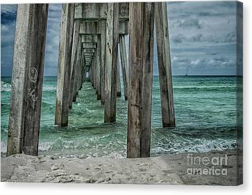 Pier Pressure Canvas Print by Judy Hall-Folde