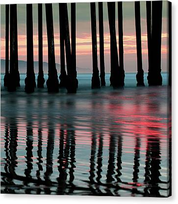 Canvas Print featuring the photograph Pier Reflections - Ocean Sunset - California  by Gregory Ballos