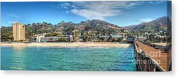 Pier Ventura Ca Boardwalk To City  Canvas Print by David Zanzinger