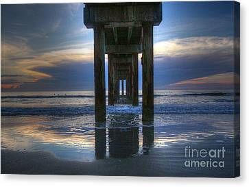 Pier View At Dawn Canvas Print