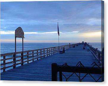 Pier View At Sunrise Canvas Print by Cheryl Waugh Whitney