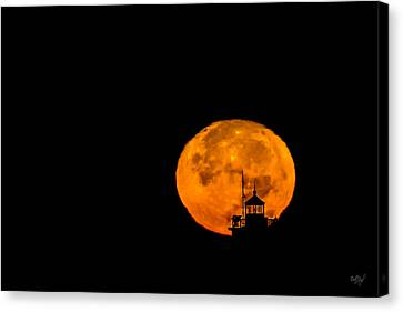 Pierhead Supermoon Silhouette Canvas Print