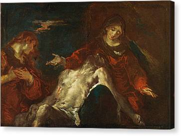 Canvas Print featuring the painting Pieta With Mary Magdalene by Giuseppe Bazzani