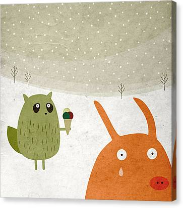 Pig And Squirrel In The Snow Canvas Print