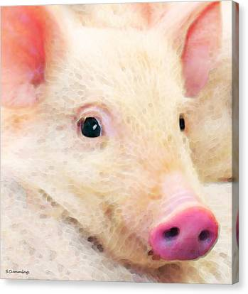 Farm Animal Canvas Print - Pig Art - Pretty In Pink by Sharon Cummings