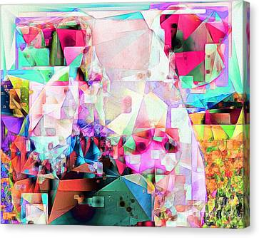 Canvas Print featuring the photograph Pig In Field In Abstract Cubism 20170413 by Wingsdomain Art and Photography