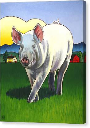 Pig Newton Canvas Print by Stacey Neumiller