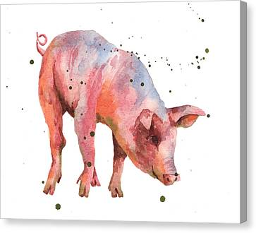 Piglet Canvas Print - Pig Painting by Alison Fennell