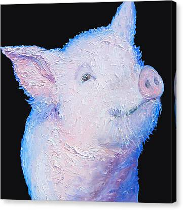 Pig Painting For The Kitchen Canvas Print by Jan Matson