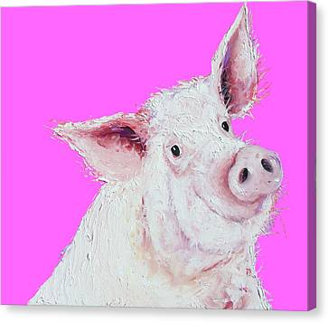 Pigs Canvas Print - Pig Painting On Hot Pink by Jan Matson