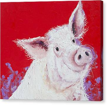 Pigs Canvas Print - Pig Painting On Red Background by Jan Matson