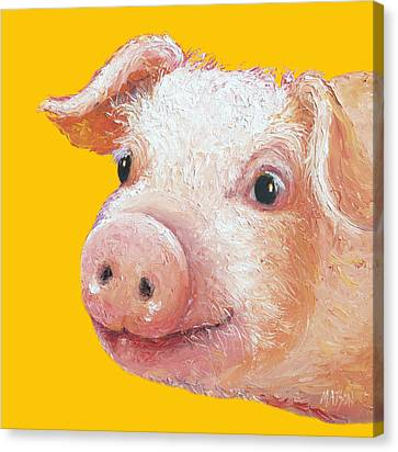 Pig Painting On Yellow Background Canvas Print by Jan Matson