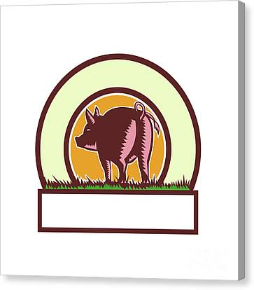 Linocut Canvas Print - Pig Tail Rear Circle Woodcut by Aloysius Patrimonio