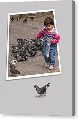 Pigeon Control Problem - Child Feeding Pigeons Canvas Print by Mitch Spence