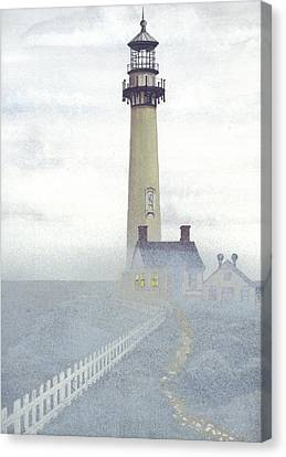 Pigeon Point Light In Fog Canvas Print by James Lyman