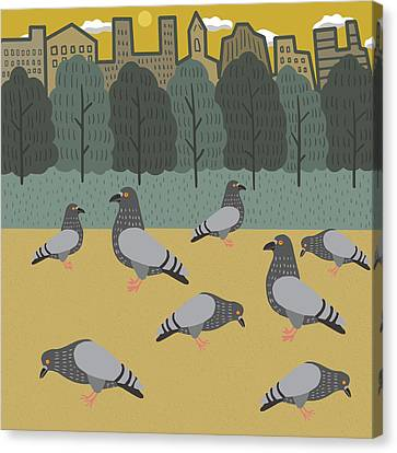 Pigeon Canvas Print - Pigeons Day Out by Nicole Wilson
