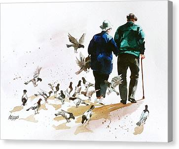 Pigeons 'n Pals Canvas Print by Art Scholz
